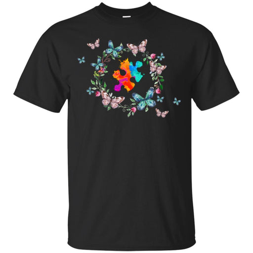 Autism T-Shirt The Pieces Fit Flowers Butterfly Autism Awareness Gift Tees Shirts CustomCat