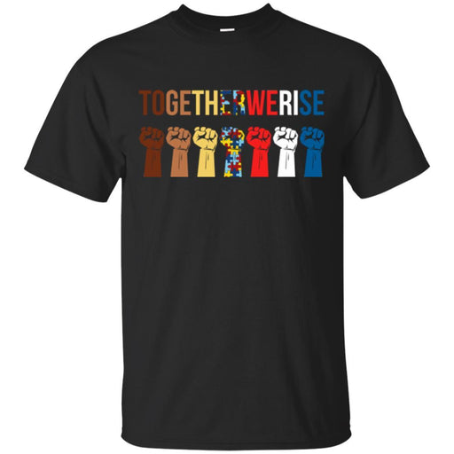 Autism T-Shirt Together We Rise Hand Awareness Day Gift Tee Shirts CustomCat