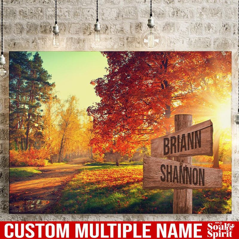 Autumn Road Color Personalized Multi-Names Canvas Family - CANLA75 - CustomCat