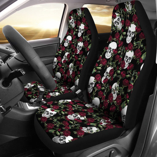 Awesome Skull Hide Under Rose Car Seat Covers (Set Of 2) My Soul & Spirit