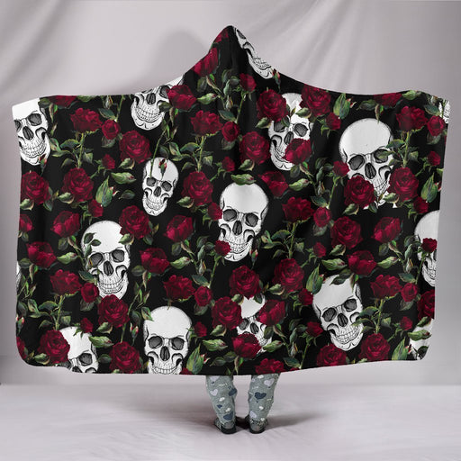 Awesome Skull Hide Under Rose Hooded Blanket My Soul & Spirit
