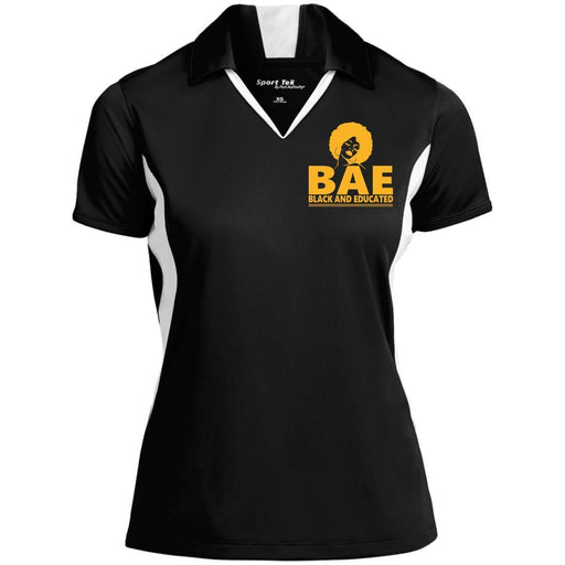 B & J BAE Black And Educated Embroidered Sport-Tek Ladies' Colorblock Performance Polo Shirt CustomCat