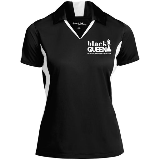 B & J Black Queen Embroidered Sport-Tek Ladies' Colorblock Performance Polo Shirt CustomCat