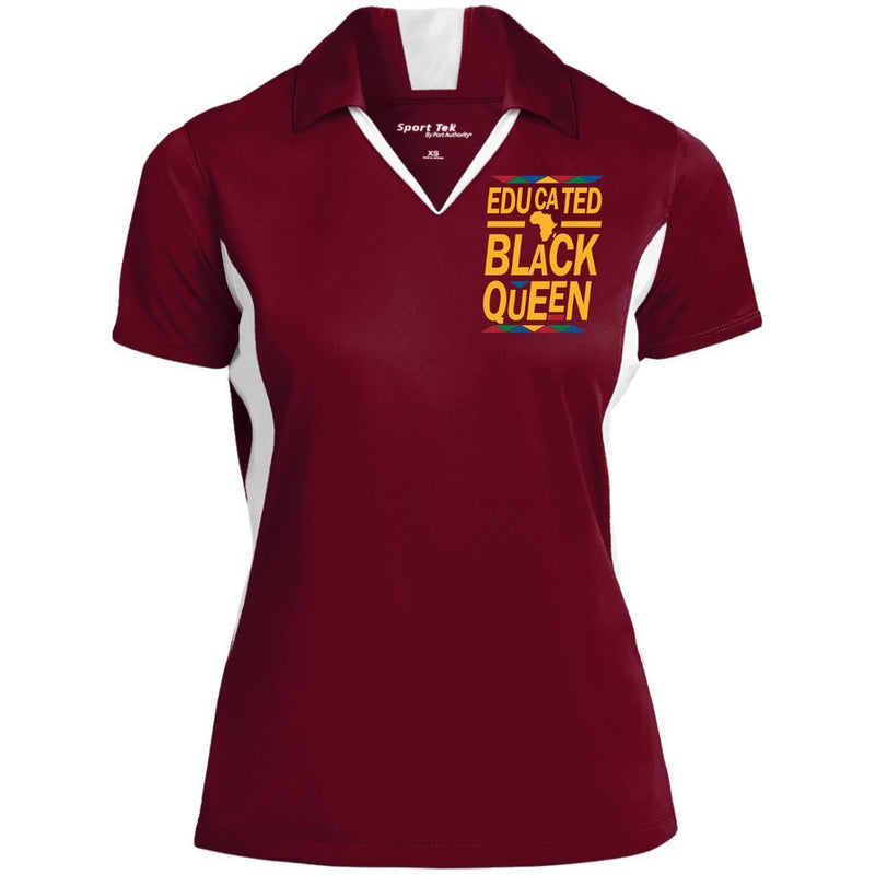 B & J Educated Black Queen Embroidered Sport-Tek Ladies' Colorblock Performance Polo Shirt CustomCat