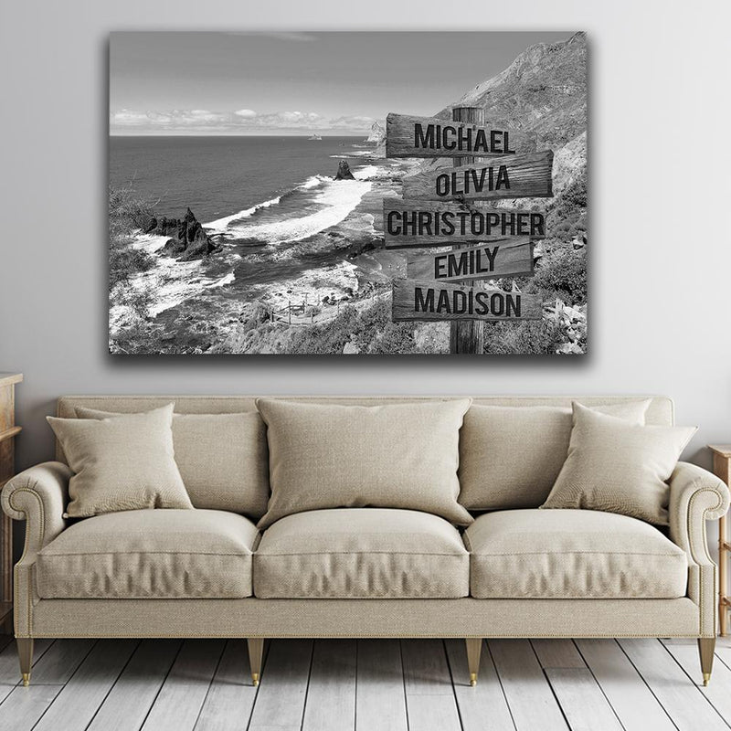 Beach Mountain Range Multi Names Premium Canvas Crossroads Personalized Canvas Wall Art Black And White, Family Street Sign Family Name Art Family - CANLA75 - CustomCat