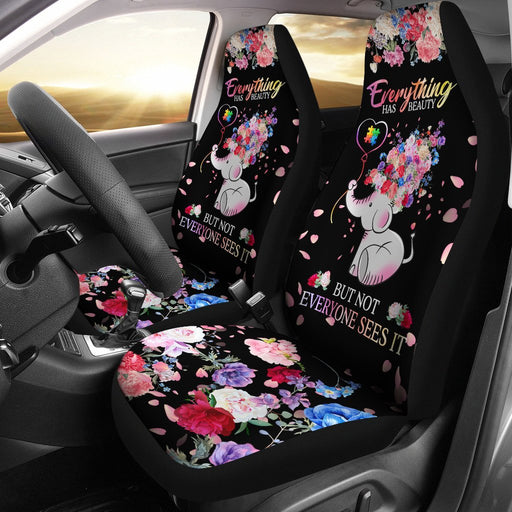 Beautiful Autism Baby Elephant With Flower Car Seat Covers (Set Of 2) My Soul & Spirit