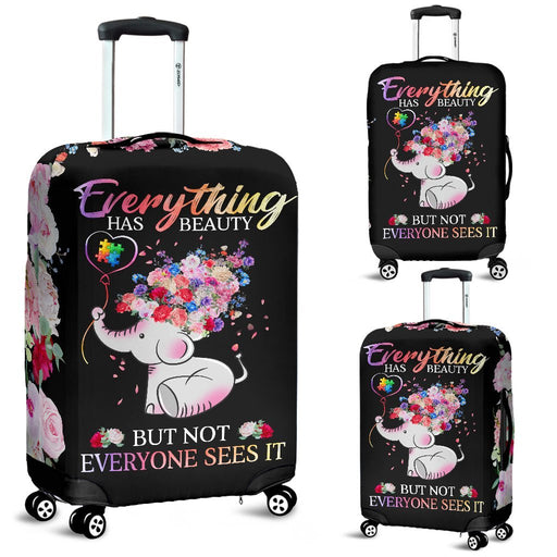 Beautiful Autism Baby Elephant With Flower Luggage Covers My Soul & Spirit