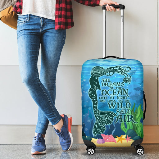Beautiful Mermaid Saying Luggage Cover My Soul & Spirit