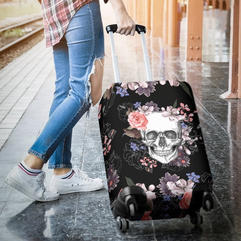 Beautiful Skull With Multi Style Flower Printed On Luggage Cover interestprint