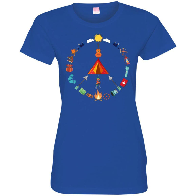 Camping T-Shirt Camping Peace Campfire Design Tees Summer Tee Shirt CustomCat