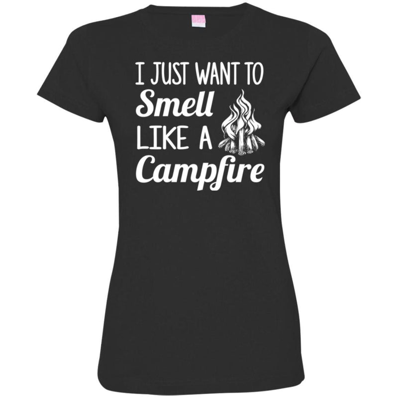 Camping T-Shirt I Just Want To Smell Like A Campfire Funny Gift For Camper Tee Shirt CustomCat