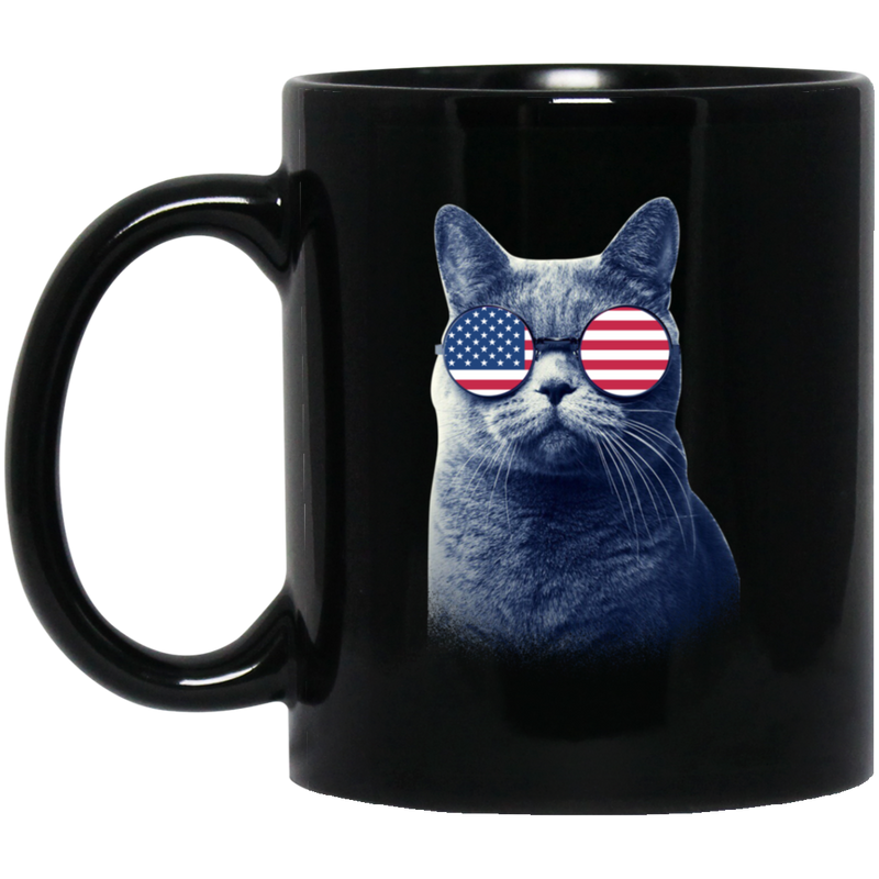 Cat Coffee Mug Cat American Flag 4th July Day 11oz - 15oz Black Mug CustomCat