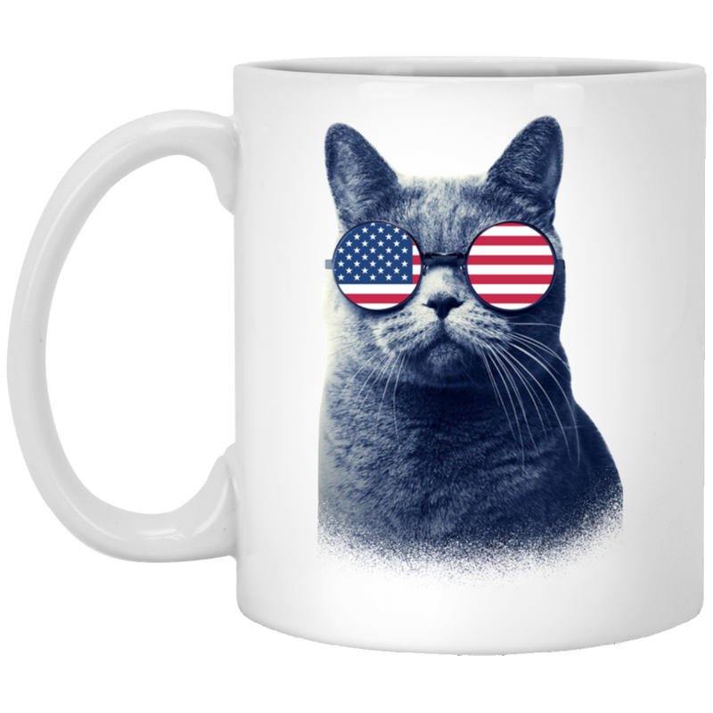 Cat Coffee Mug Cat American Flag 4th July Day 11oz - 15oz White Mug CustomCat