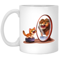 Cat Coffee Mug Cat and Lion! Be Confident! Purr... For Cat Lovers 11oz - 15oz White Mug CustomCat