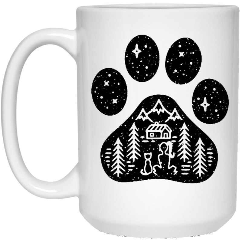 Cat Coffee Mug Cat Girl And Cat Sitting Together In Cat Foot Snow Christmas Tree Gift 11oz - 15oz White Mug CustomCat