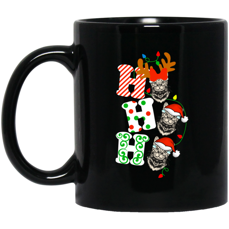 Cat Coffee Mug Ho Ho Ho Cat Christmas Kitties 11oz - 15oz Black Mug CustomCat