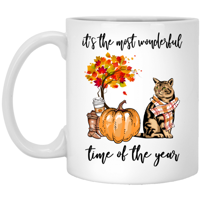Cat Coffee Mug It's The Most Wonderful Time Of The Year Bengal Cat 11oz - 15oz White Mug CustomCat