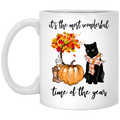 Cat Coffee Mug It's The Most Wonderful Time Of The Year Black Cat 11oz - 15oz White Mug CustomCat