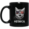 Cat Coffee Mug Meowica American Flag 4th July Day 11oz - 15oz Black Mug CustomCat