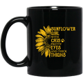 Cat Coffee Mug Sunflower Girl With Cats Pretty Eyes And Thick Thighs Sunflower Cat 11oz - 15oz Black Mug CustomCat