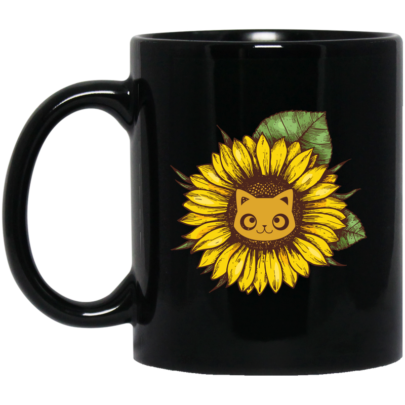 Cat Coffee Mug Sunflowergirl With Cats Pretty Eyes 11oz - 15oz Black Mug CustomCat