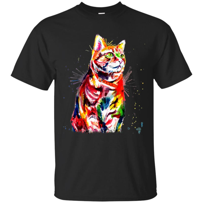 Cat T Shirt Cat Colorful Tie Dye Cat Colorful Tye Dye Kitten T-Shirt CustomCat
