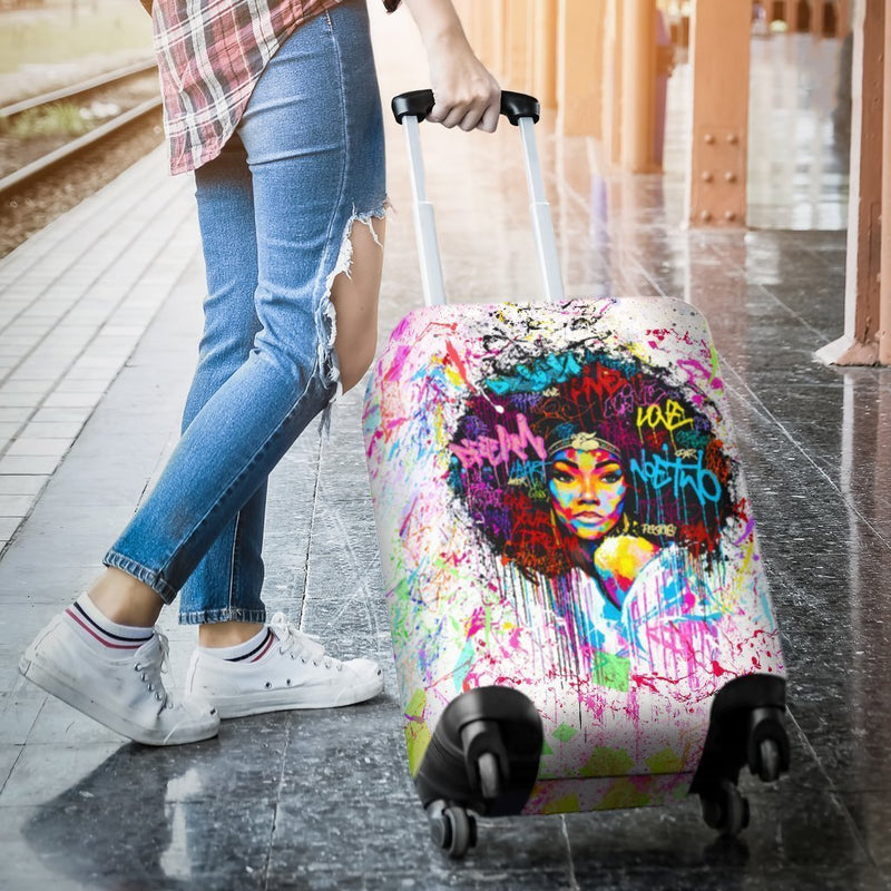 Charming Black Girl Luggage Cover interestprint