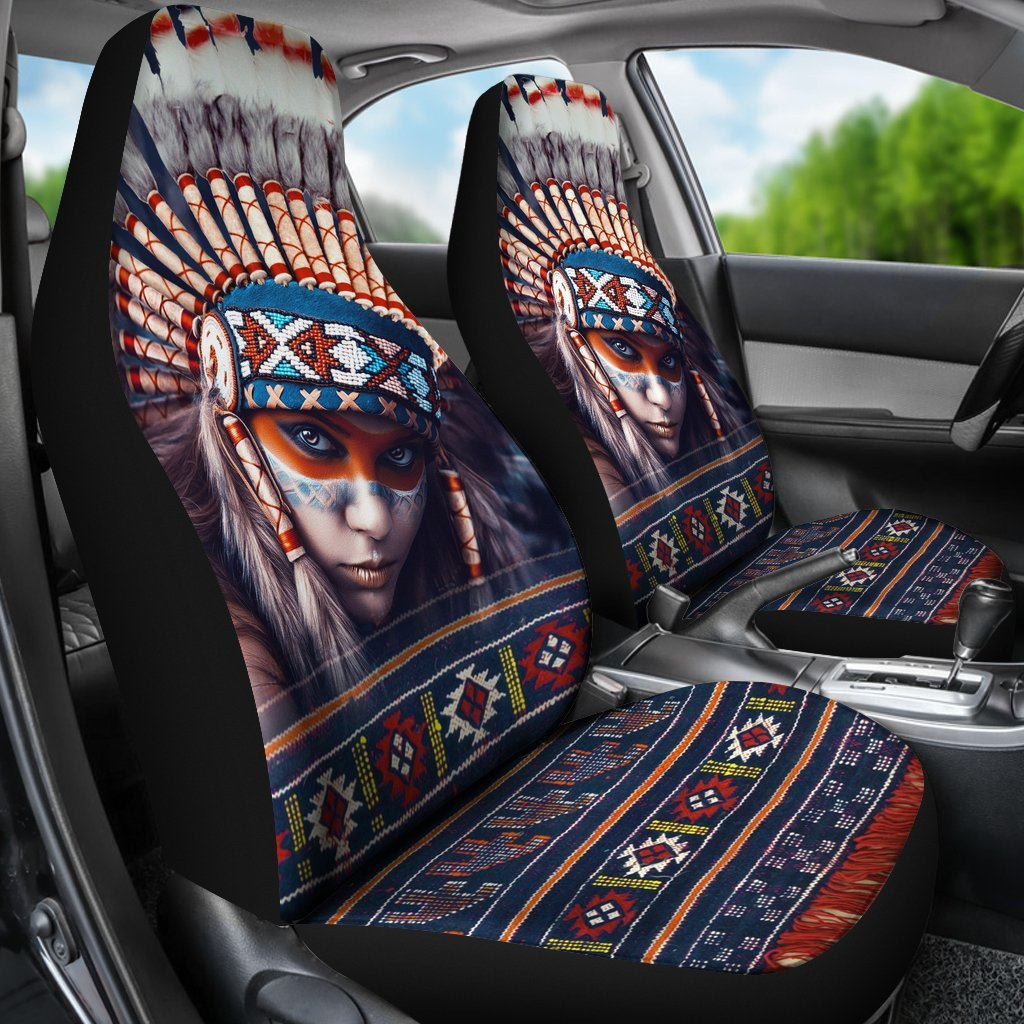 Charming Native American Girl Printed On Car Seat Covers Set Of 2