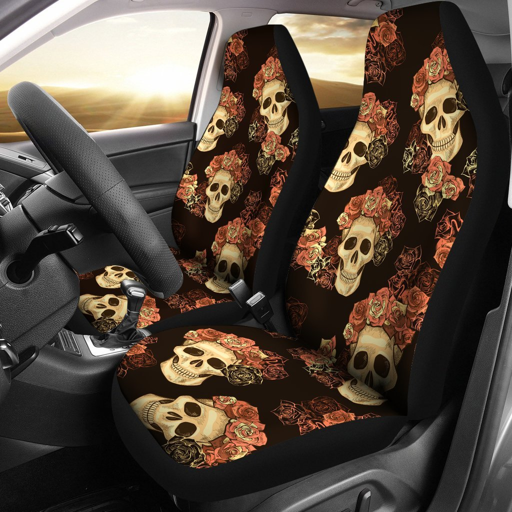 Classic Style Of Flower Skull Car Seat Covers Set 2 My Soul