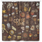 Coffee Shower Curtains Colorful Vector Hand Drawn Set Of Objects And Symbols On The Coffee Time For Bathroom Decor