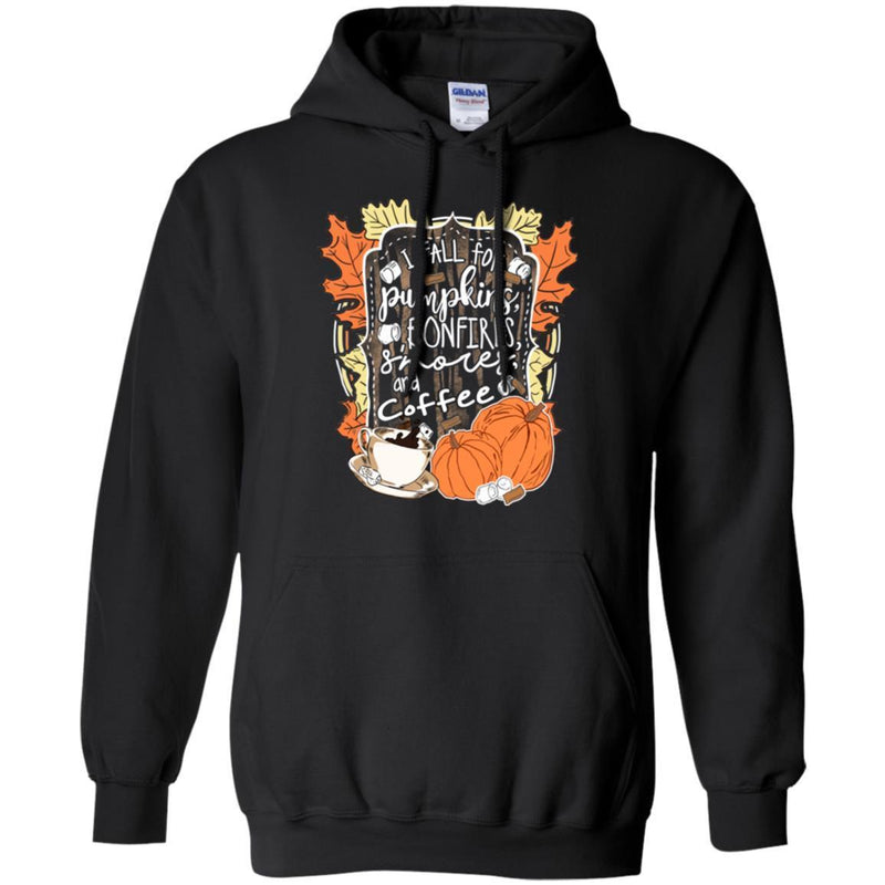 Coffee T-Shirt I Fall For Pumpkins Bonfires S'mores And Coffee Shirts CustomCat