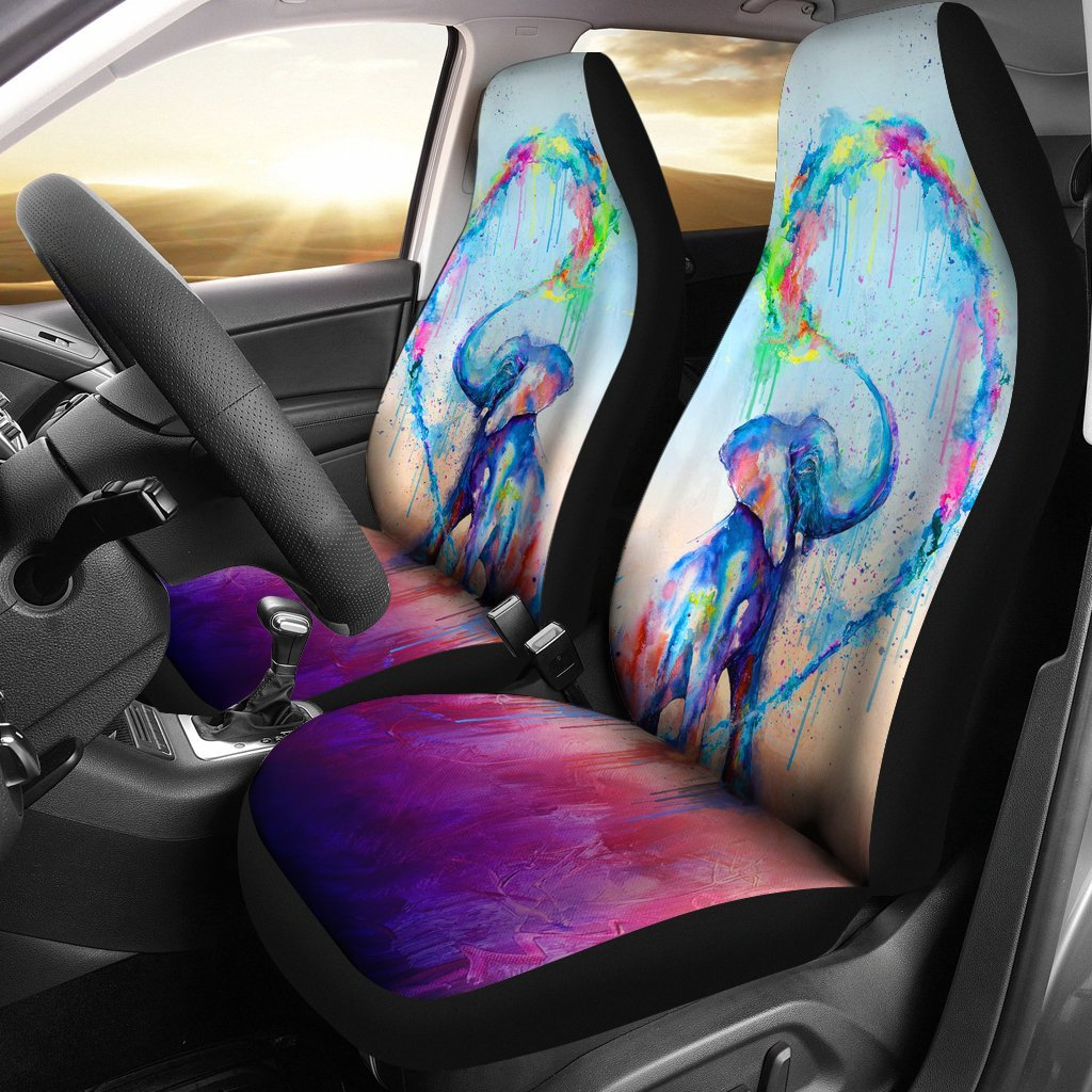 Colorful Elephant For Car Seat Cover (Set of 2) – My Soul & Spirit