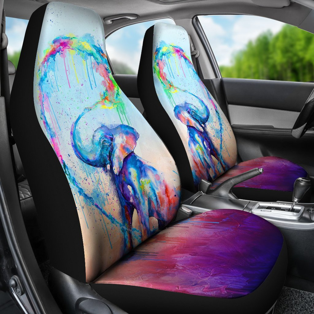 Colorful Elephant For Car Seat Cover Set Of 2 My Soul Spirit