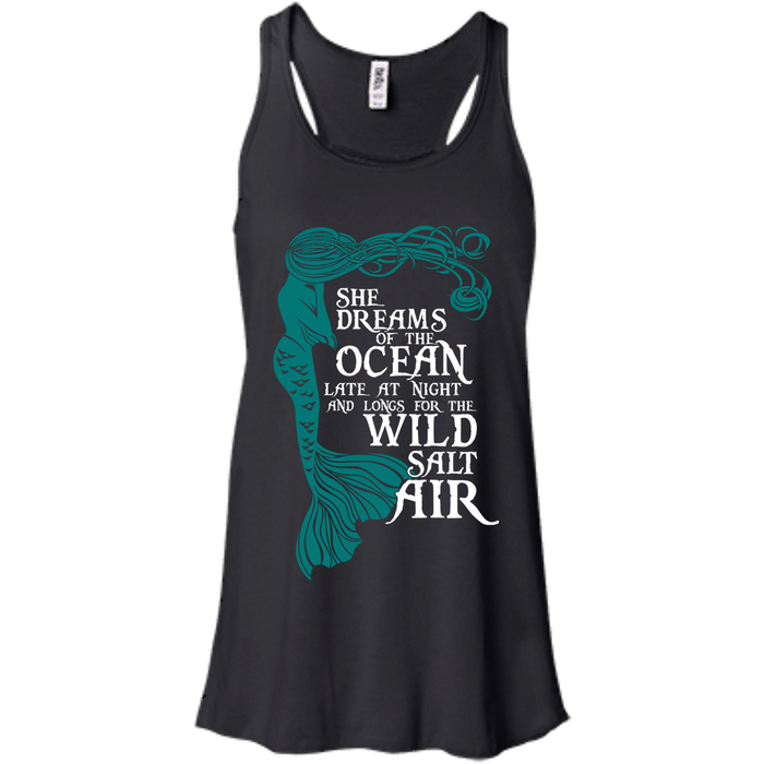 CustomCat B8800 Bella + Canvas Flowy Racerback Tank / Black / X-Small She Dreams Of The Ocean