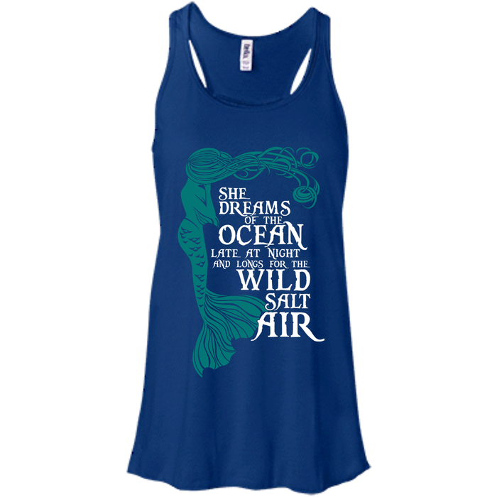 CustomCat B8800 Bella + Canvas Flowy Racerback Tank / True Royal / X-Small She Dreams Of The Ocean