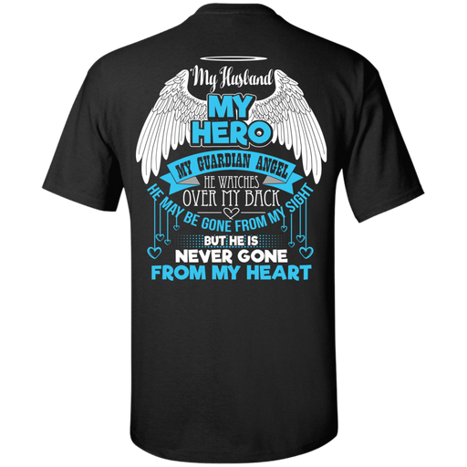 CustomCat Custom Ultra Cotton T-Shirt / Black / Small My Husband - My Hero - My Guardian Angel Tshirt