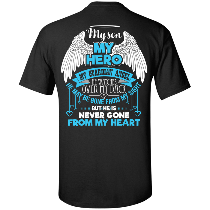 CustomCat Custom Ultra Cotton T-Shirt / Black / Small My Son - My Hero - My Guardian Angel Tshirt