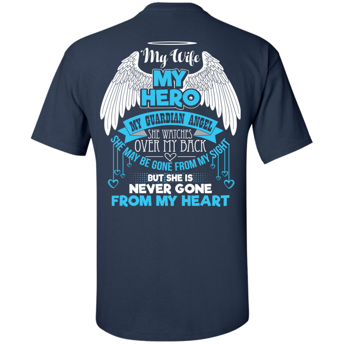 CustomCat Custom Ultra Cotton T-Shirt / Navy / Small My Wife - My Hero - My Guardian Angel Tshirt
