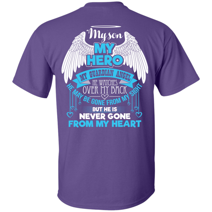 CustomCat Custom Ultra Cotton T-Shirt / Purple / Small My Son - My Hero - My Guardian Angel Tshirt