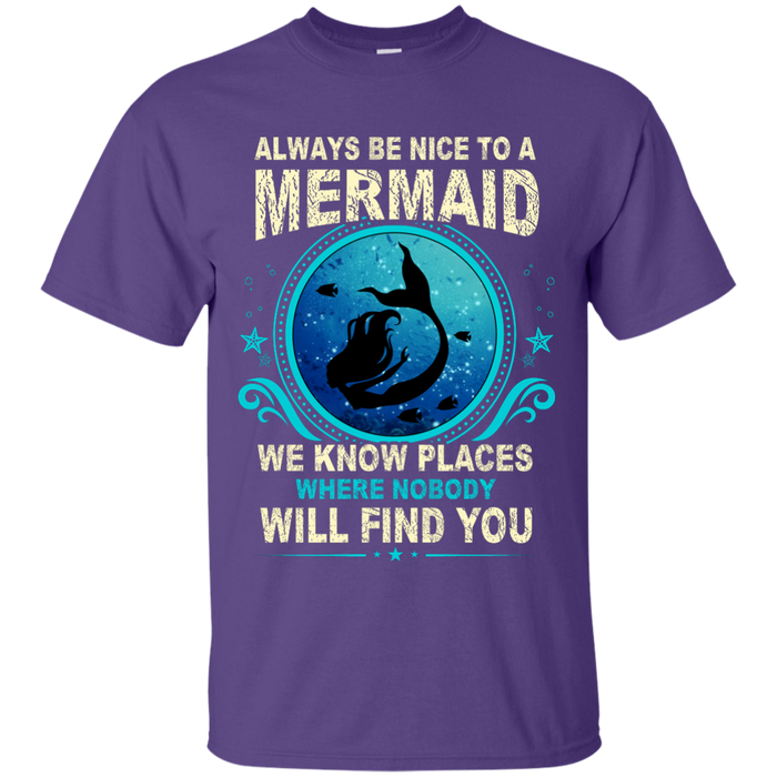 CustomCat G200 Gildan Ultra Cotton T-Shirt / Purple / Small Always Be Nice To a Mermaid