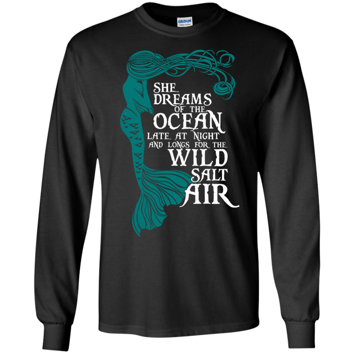 CustomCat G240 Gildan LS Ultra Cotton T-Shirt / Black / Medium She Dreams Of The Ocean