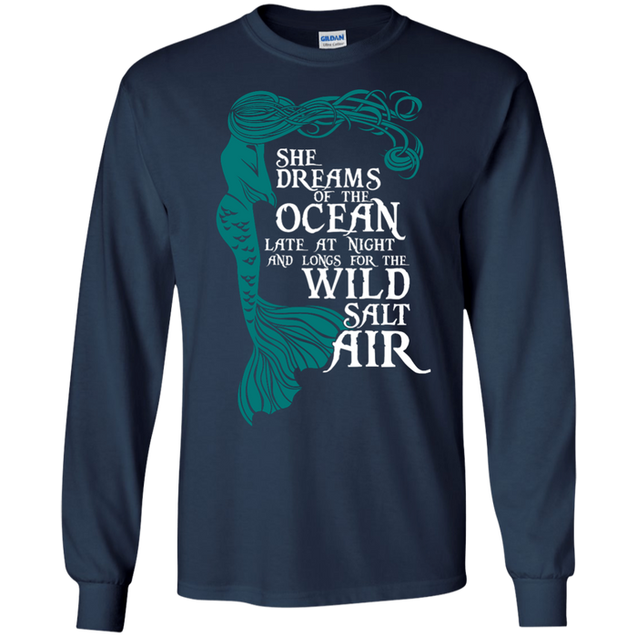 CustomCat G240 Gildan LS Ultra Cotton T-Shirt / Navy / Medium She Dreams Of The Ocean