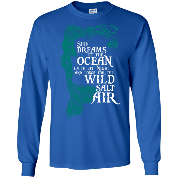 CustomCat G240 Gildan LS Ultra Cotton T-Shirt / Royal / Medium She Dreams Of The Ocean