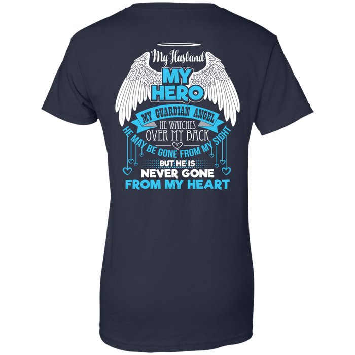 CustomCat Ladies Custom 100% Cotton T-Shirt / Navy / X-Small My Husband - My Hero - My Guardian Angel Tshirt