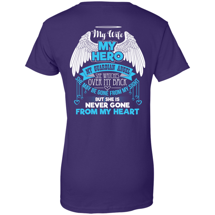 CustomCat Ladies Custom 100% Cotton T-Shirt / Purple / X-Small My Wife - My Hero - My Guardian Angel Tshirt