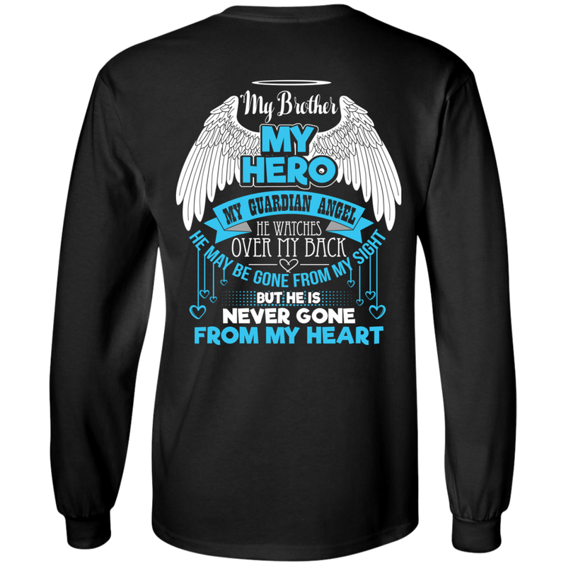 CustomCat LS Ultra Cotton Tshirt / Black / Small My Brother - My Hero - My Guardian Angel Tshirt