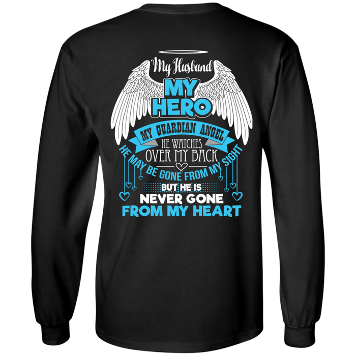 CustomCat LS Ultra Cotton Tshirt / Black / Small My Husband - My Hero - My Guardian Angel Tshirt