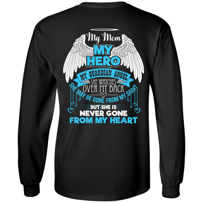 CustomCat LS Ultra Cotton Tshirt / Black / Small My Mom - My Hero - My Guardian Angel Tshirt