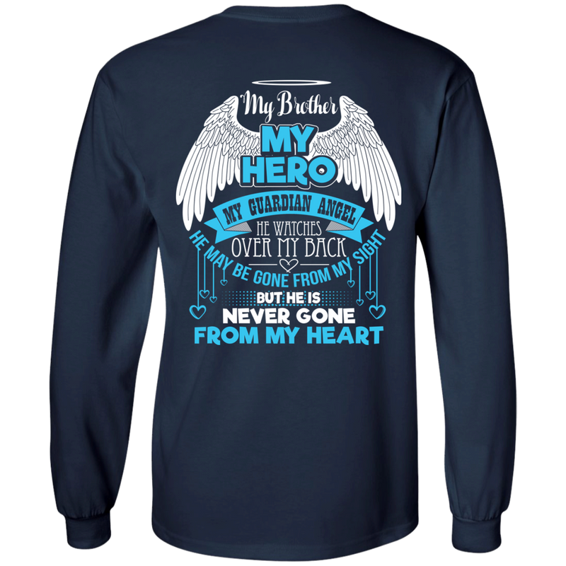 CustomCat LS Ultra Cotton Tshirt / Navy / Small My Brother - My Hero - My Guardian Angel Tshirt