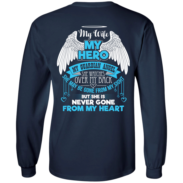 CustomCat LS Ultra Cotton Tshirt / Navy / Small My Wife - My Hero - My Guardian Angel Tshirt